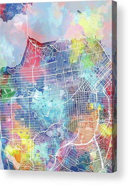 San Francisco Acrylic Print featuring the digital art San Francisco Map Watercolor by Bekim M