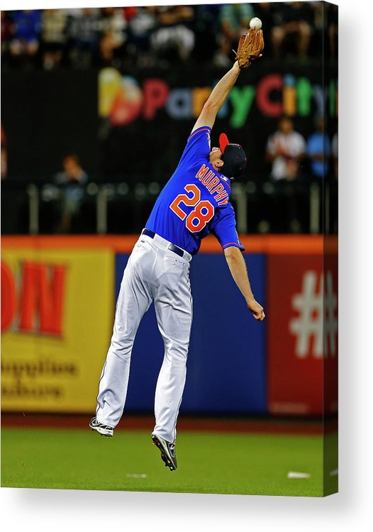 Ball Acrylic Print featuring the photograph Elvis Andrus And Daniel Murphy by Rich Schultz