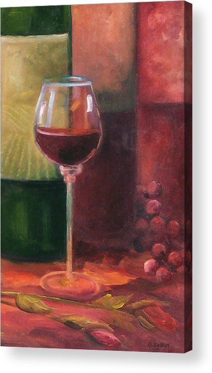 Wine Acrylic Print featuring the painting Wine Glass by Gail Salitui