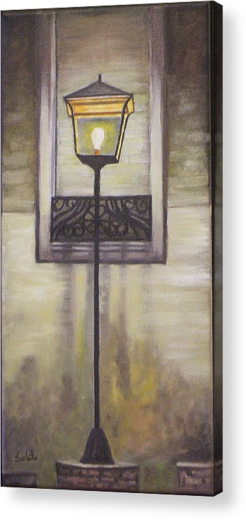 Landscape Acrylic Print featuring the painting Street Lamp by Srilata Ranganathan