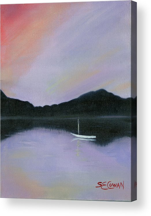 Landscape Acrylic Print featuring the painting All Is Still by SueEllen Cowan