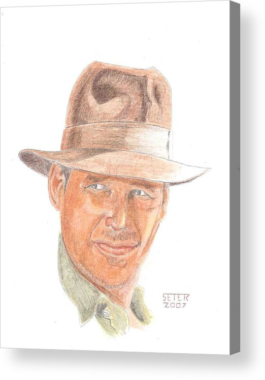 Indiana Jones Harrison Ford Acrylic Print featuring the mixed media Indy by David Seter