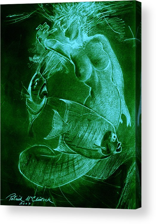 Mermaid Acrylic Print featuring the painting Mermaid And Fish by Patrick McClintock