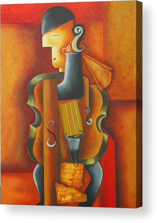 Abstract Expressionism Acrylic Print featuring the painting Violin Time by Marta Giraldo