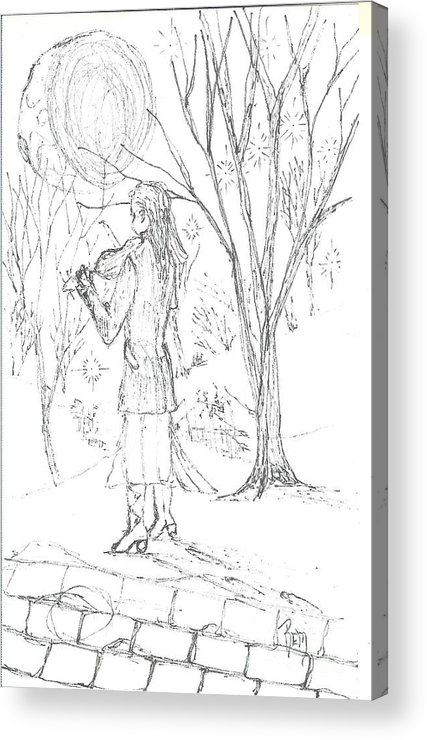 Pen And Ink Acrylic Print featuring the drawing A Song For The Night - Sketch by Robert Meszaros