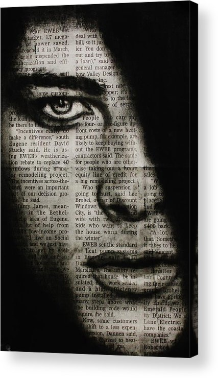 Male Acrylic Print featuring the drawing Art In The News 7 by Michael Cross