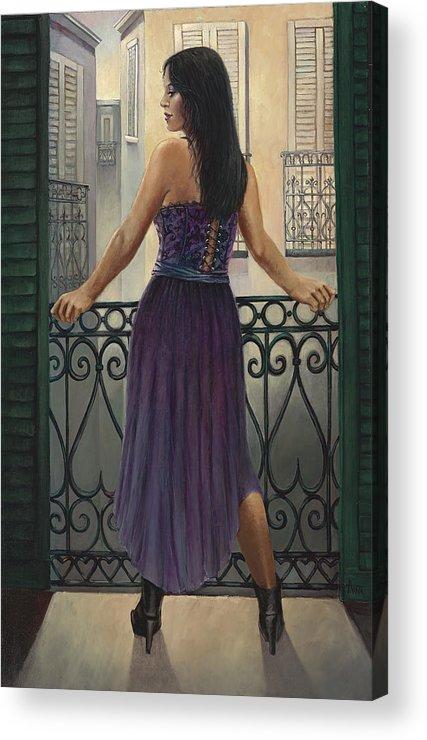 Mask Acrylic Print featuring the painting Bourbon Street Balcony by Geraldine Arata