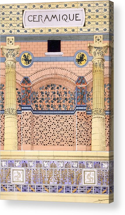 Motifs Acrylic Print featuring the drawing Ceramics Designs For Tiled Wall by Rene Binet