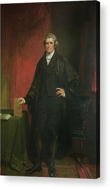 Portrait Acrylic Print featuring the painting Chief Justice Marshall by Chester Harding