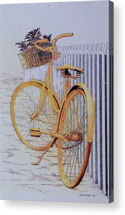 Bicycle Yellow Summer Flowers Plants Acrylic Print featuring the painting Endless Summer by Tony Ruggiero