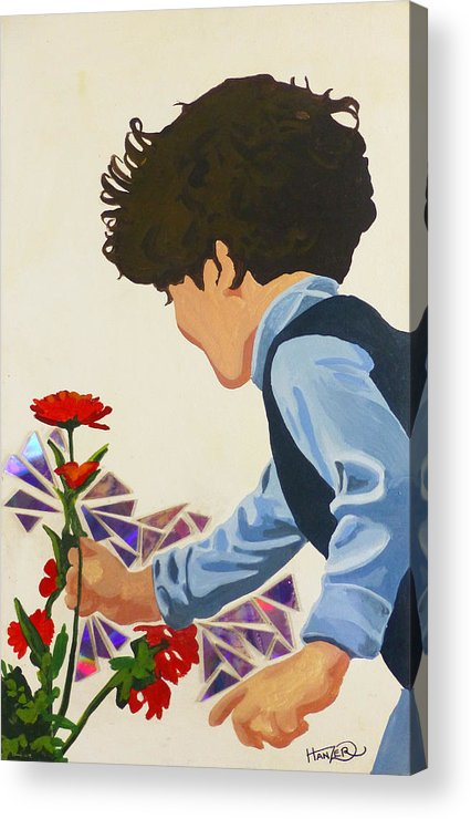 Hanzer Art Acrylic Print featuring the painting Flower Child by Jack Hanzer Susco