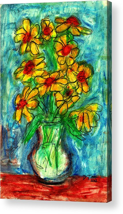 Flowers Acrylic Print featuring the drawing Garden Flower Mono-print by Don Thibodeaux