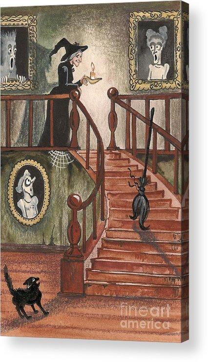 Halloween Acrylic Print featuring the painting Halloween Witch by Margaryta Yermolayeva