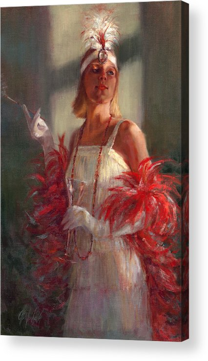 Flapper Acrylic Print featuring the painting In Full Plumage by Cheryl King