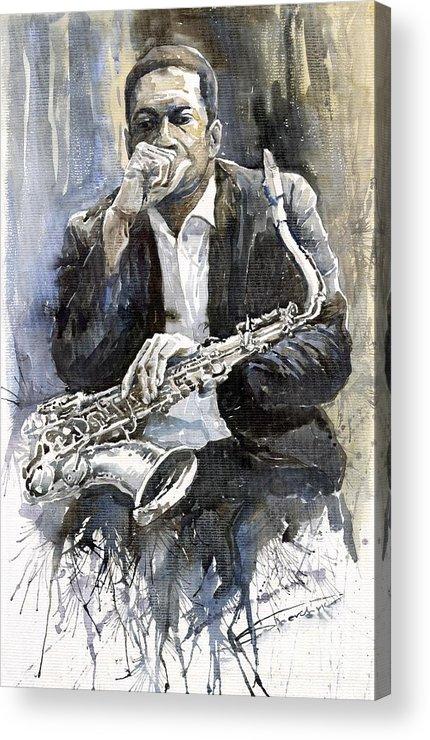 Jazz Acrylic Print featuring the painting Jazz Saxophonist John Coltrane Yellow by Yuriy Shevchuk