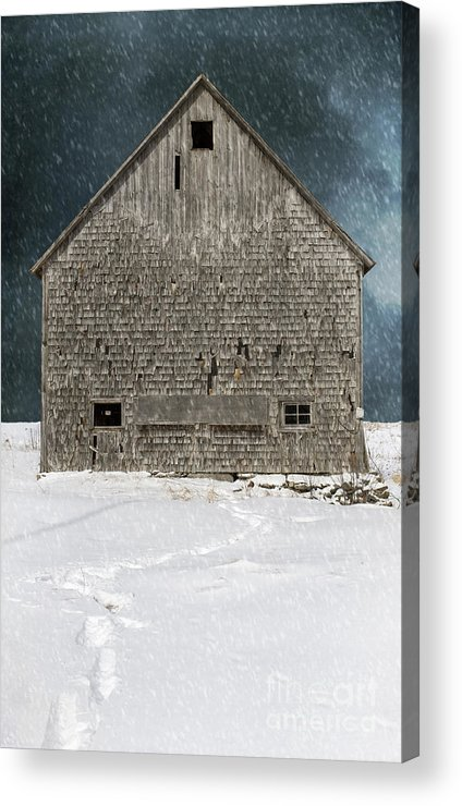 Old Barn Acrylic Print featuring the photograph Old Barn In A Snow Storm by Edward Fielding
