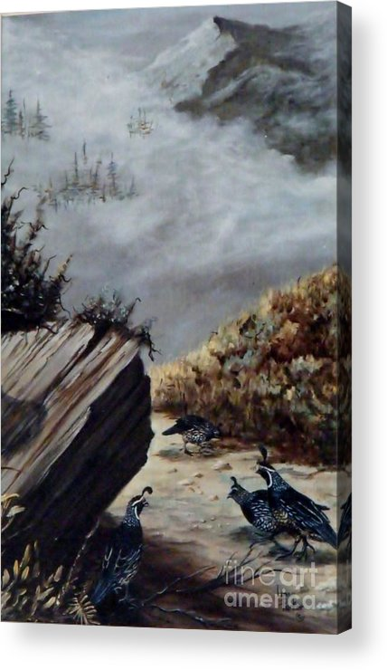 Quail Group Acrylic Print featuring the painting Quail Covey by Lynne Parker