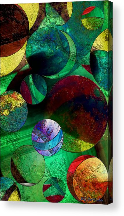 Planets Acrylic Print featuring the painting When Worlds Collide by RC DeWinter