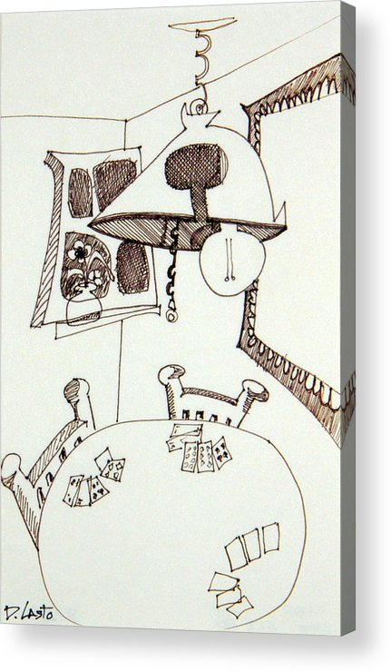 Room Acrylic Print featuring the drawing Cards by Denny Casto