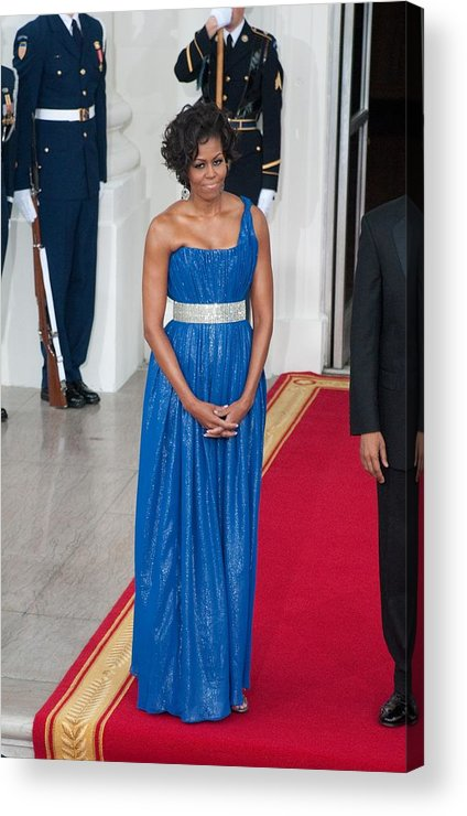 First Lady Michelle Obama Acrylic Print featuring the photograph First Lady Michelle Obama Wearing by Everett
