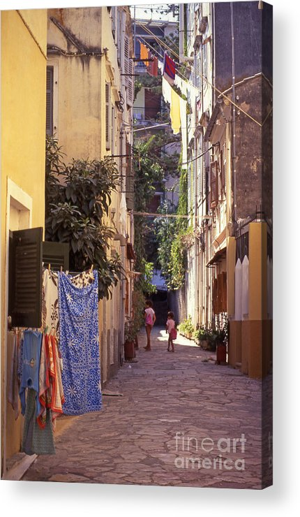 Corfu Acrylic Print featuring the photograph Greece. Venetian Street In Corfu Old Town. by Steve Outram