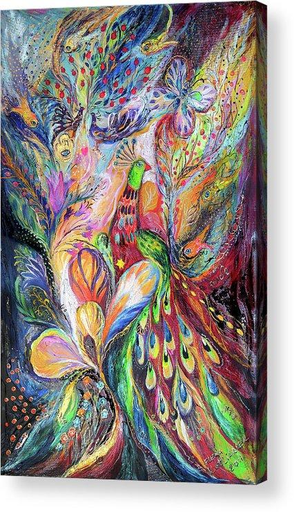 Original Acrylic Print featuring the painting The King Bird by Elena Kotliarker