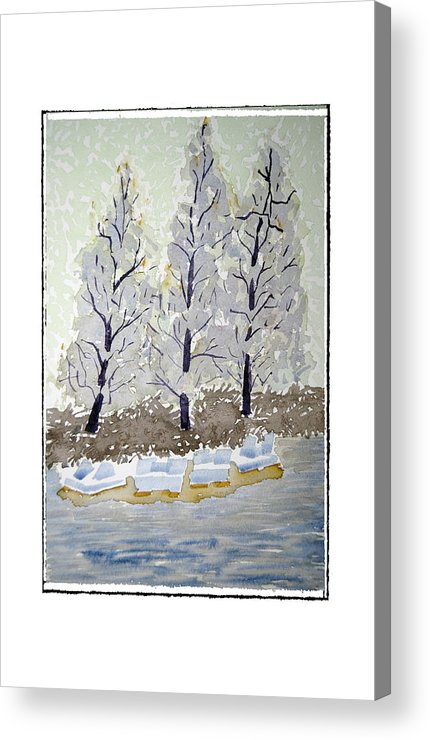 Landscape Acrylic Print featuring the painting Blue Paddle Boats by Robert Boyette