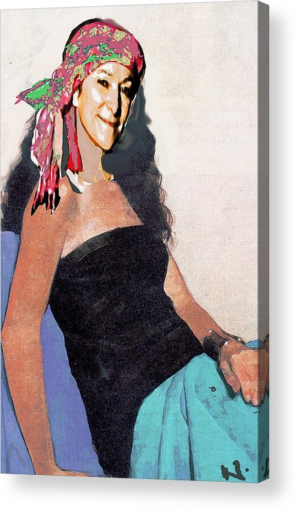 Portrait Acrylic Print featuring the painting Charm by Noredin Morgan