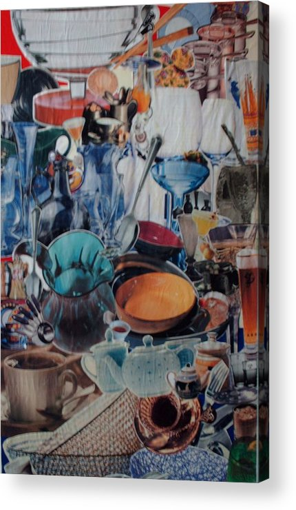 Dishes Kitchen Acrylic Print featuring the mixed media Dishparty by Nancy Graham