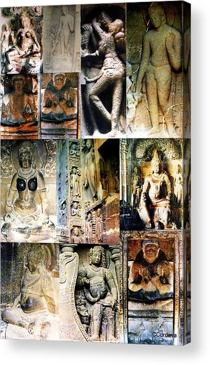 Collage Acrylic Print featuring the photograph Ellora And Ajanta Caves by Carmen Cordova