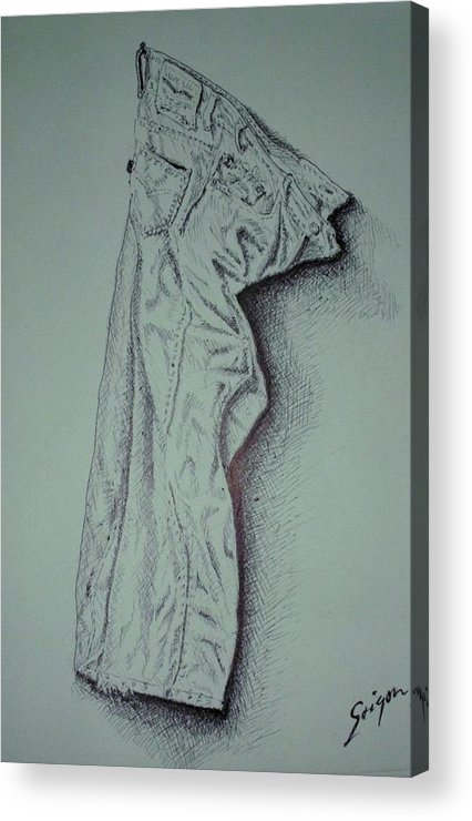 Pants Acrylic Print featuring the drawing Fac Fidelis by SAIGON De Manila
