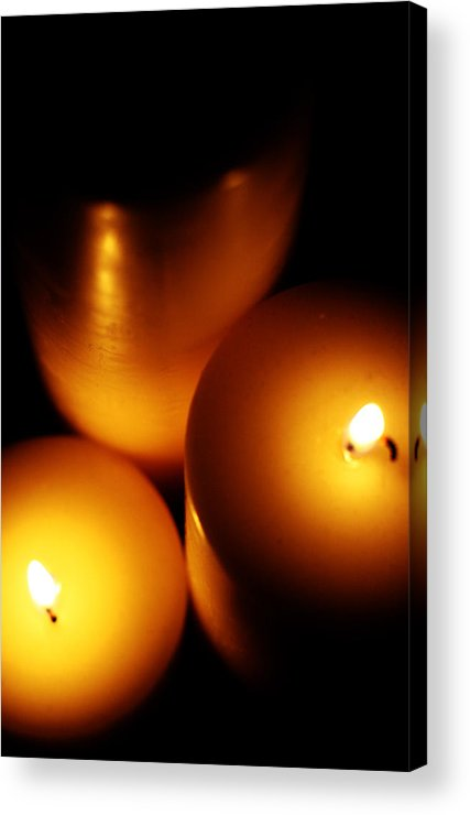 Candles Acrylic Print featuring the digital art Flames by Lounge Mode Productions Art