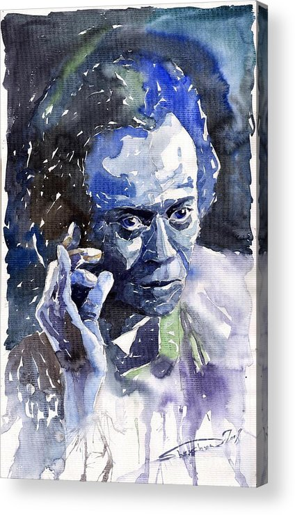 Jazz Acrylic Print featuring the painting Jazz Miles Davis 11 Blue by Yuriy Shevchuk