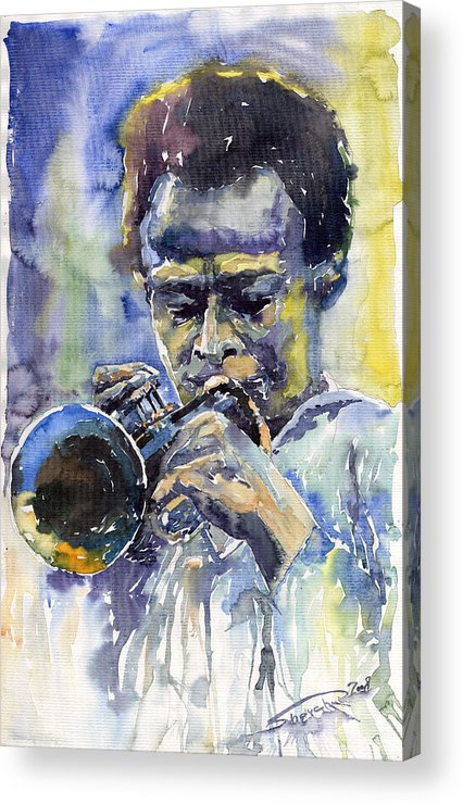 Jazz Acrylic Print featuring the painting Jazz Miles Davis 12 by Yuriy Shevchuk
