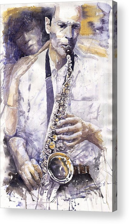 Jazz Acrylic Print featuring the painting Jazz Muza Saxophon by Yuriy Shevchuk