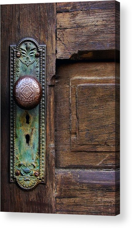 Antique Door Acrylic Print featuring the photograph Old Door Knob by Joanne Coyle