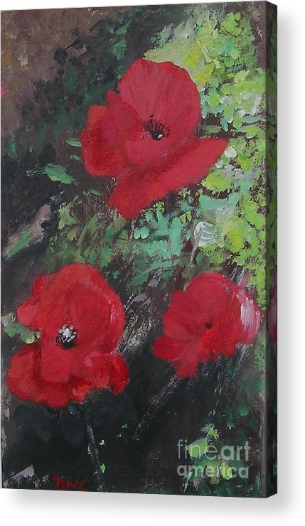 Red Acrylic Print featuring the painting Poppies by Lizzy Forrester