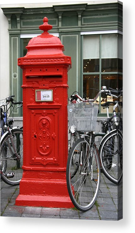 Post Box Acrylic Print featuring the photograph Post Box In Bruge by Glyn Picton