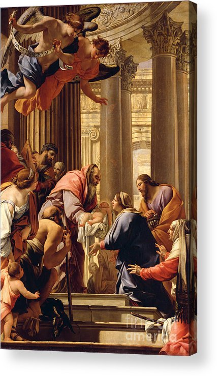 Presentation In The Temple (oil On Canvas) Jesus Christ; Mary; Joseph; Infant; Baby; Angels Acrylic Print featuring the painting Presentation In The Temple by Simon Vouet
