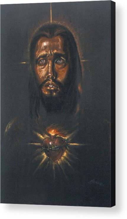 Heart Acrylic Print featuring the pastel Sacred Heart by Tommy Winn