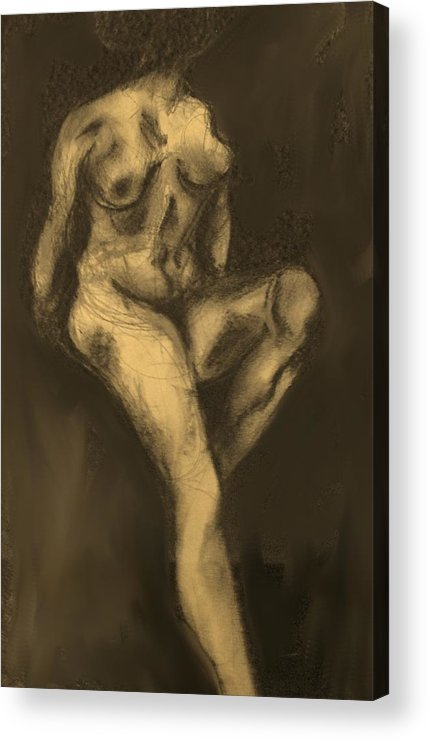 Nude Acrylic Print featuring the drawing Seated Pose by Ian MacDonald