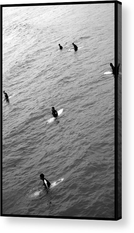 San Clemente Pier Acrylic Print featuring the photograph Sitting Waiting Wishing by Brad Scott