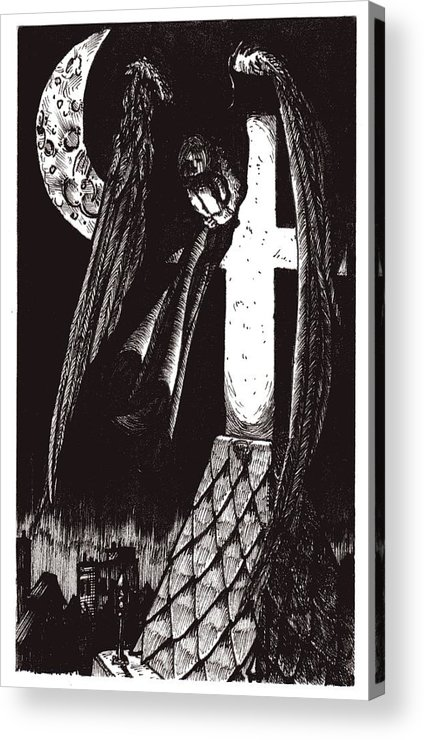 Angel Acrylic Print featuring the drawing Solemn Vigil by Tobey Anderson