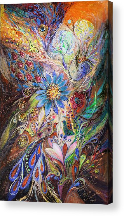 Judaica Acrylic Print featuring the painting The Dance Of Light by Elena Kotliarker