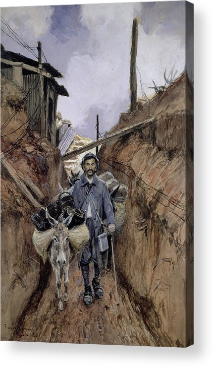 The Acrylic Print featuring the painting The Donkey by Francois Flameng