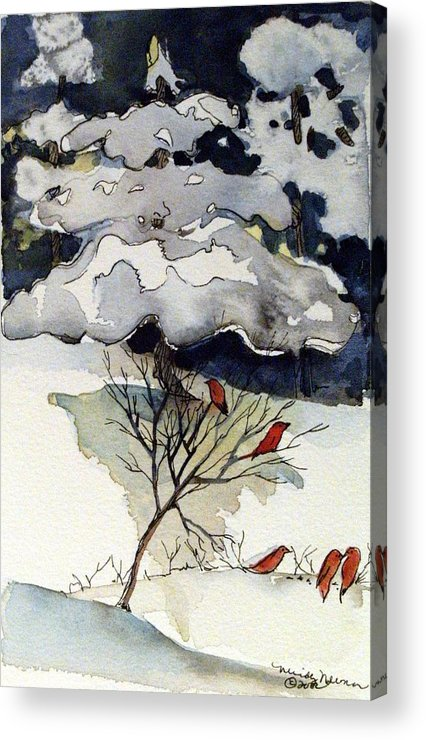 Winter Acrylic Print featuring the drawing The Friendly Pine Tree Watches by Mindy Newman