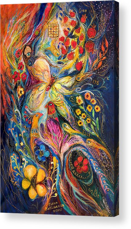 Original Acrylic Print featuring the painting The Love Story by Elena Kotliarker