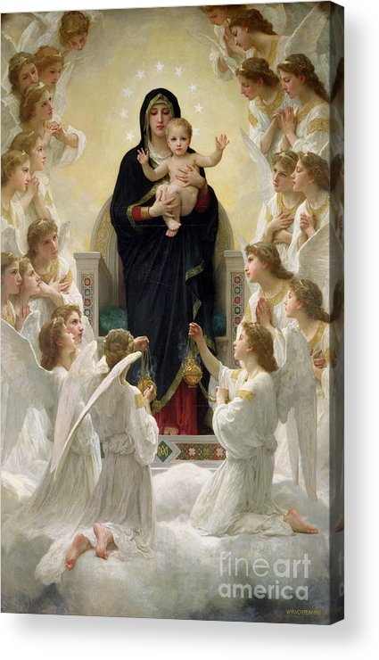 The Acrylic Print featuring the painting The Virgin With Angels by William-Adolphe Bouguereau