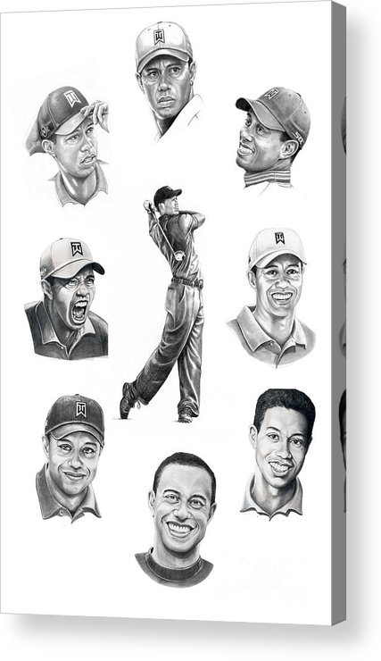 Tiger Woods Acrylic Print featuring the drawing Tiger Woods-murphy Elliott by Murphy Elliott