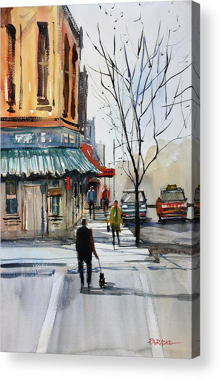 Paintings Acrylic Print featuring the painting Walking The Dog by Ryan Radke